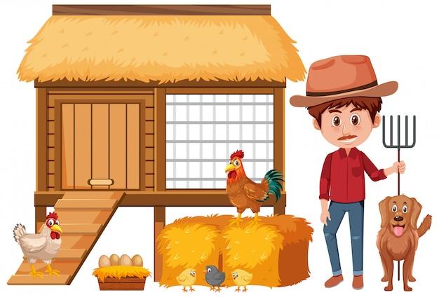 Landwirt und hühnerstall auf weißem hintergrund