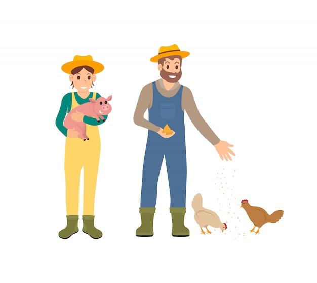 Landwirt und schwein-mann mit hennen-vektor-illustration