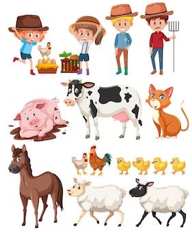 Landwirt und tiere auf weißem hintergrund