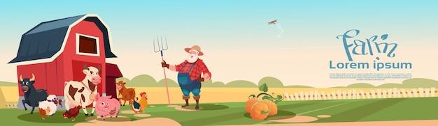 Landwirt-züchtender tier-ackerland-hintergrund