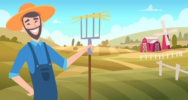 Landwirte auf dem feld. erntegärtner, die am landwirtschaftlichen vektorkarikaturhintergrund des bauernhofes arbeiten. abbildung bauernhof landwirtschaft, mann bauer im garten mit mistgabel