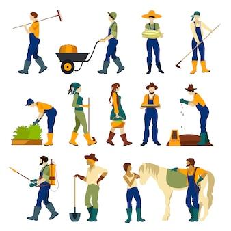 Landwirte bei der arbeit flachen zeichensatz
