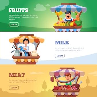 Landwirte des lokalen marktes, die gemüse-, milch- und fleischfahne verkaufen