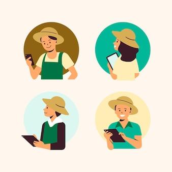 Landwirte, die den landwirtschaftlichen technologievektor verwenden
