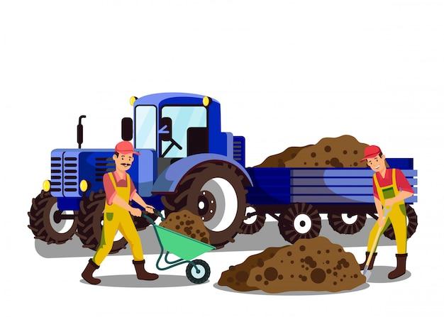 Landwirte, die grundflache vektor-illustration graben