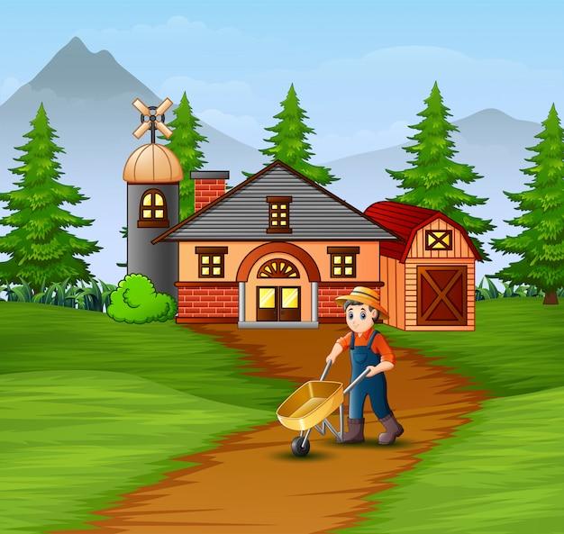 Landwirte, die im bauernhaus arbeiten
