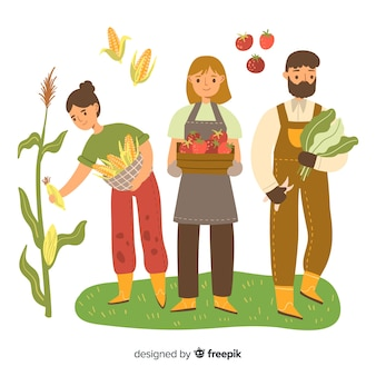 Landwirte, die zusammen landwirtschaftliche arbeit erledigen