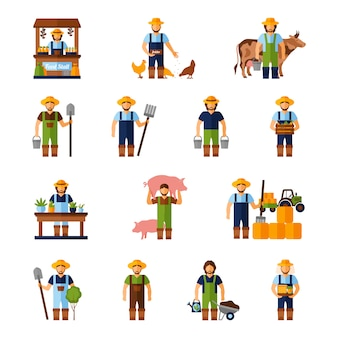 Landwirte icons set
