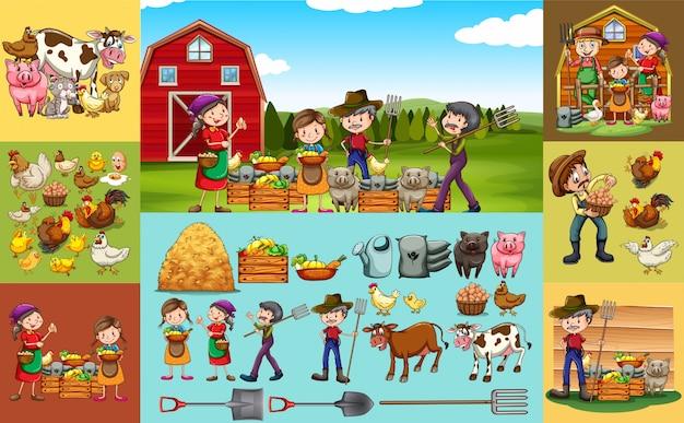 Landwirte und tiere auf dem bauernhof