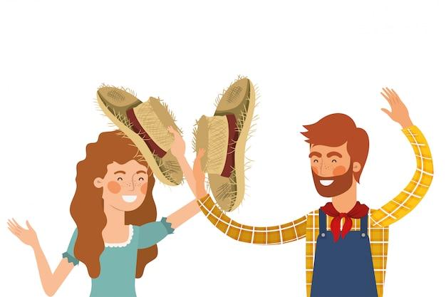 Landwirte verbinden das sprechen mit strohhut