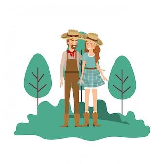 Landwirte verbinden die unterhaltung mit strohhut in der landschaft