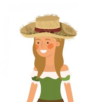 Landwirtfrau mit strohhut