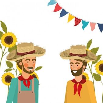 Landwirtmänner, die mit strohhut sprechen