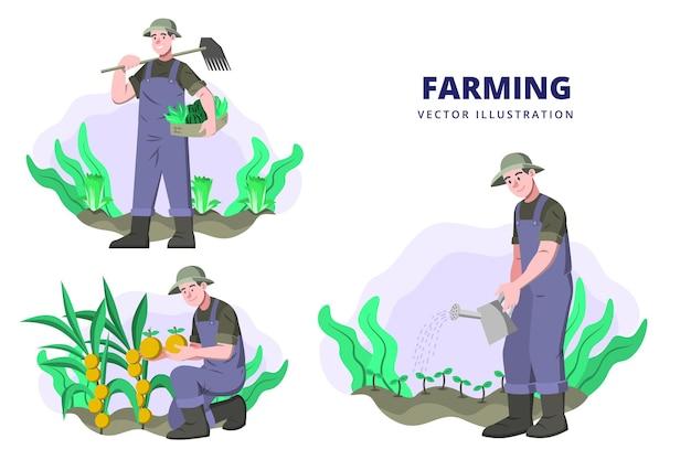 Landwirtschaft - aktivitäts-vektor-illustration