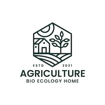 Landwirtschaft bauernhaus ansicht reisfeld monoline logo vorlage