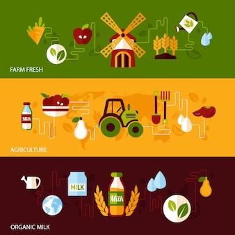 Landwirtschaft bauernhof frische natürliche produkte bio-lebensmittel und milch flache banner gesetzt isoliert vektor-illustration