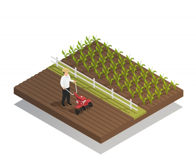 Landwirtschaft, die landwirtschaftliche ausrüstungs-zusammensetzung im garten arbeitet