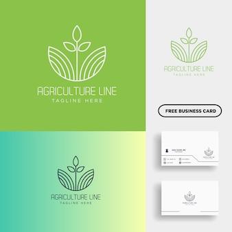 Landwirtschaft eco grüne linie kunstlogoschablonenikonenelement