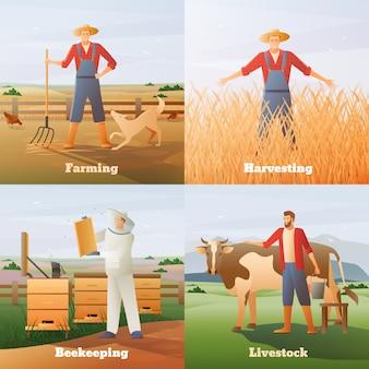 Landwirtschaft flache kompositionen