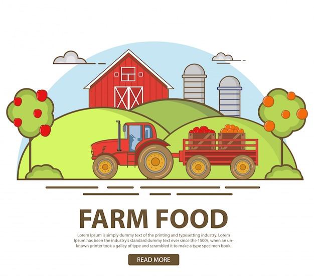 Landwirtschaft garten äpfel und orangen. obsternte mit dem traktor. natürliche ländliche landschaft. scheune und getreidespeicher. hügel mit obstbäumen. bio-produkte, frische lebensmittel vom bauernhof