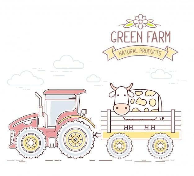 Landwirtschaft. illustration des roten ackerschleppers mit wagen eine kuh lokalisiert auf weißem hintergrund. dorflandschaft.
