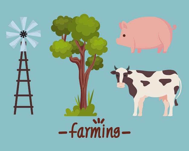 Landwirtschaft mit vier symbolen