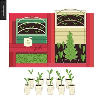 Landwirtschaft und gartenbau - saatbeete