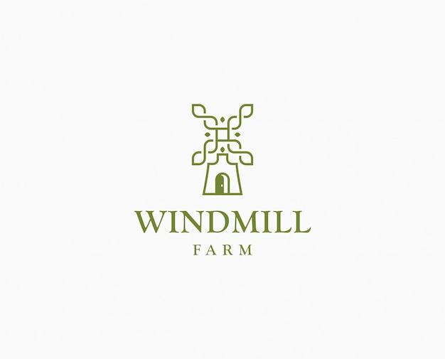 Landwirtschaft weizen mühle logo. wildmill farm logo vorlage