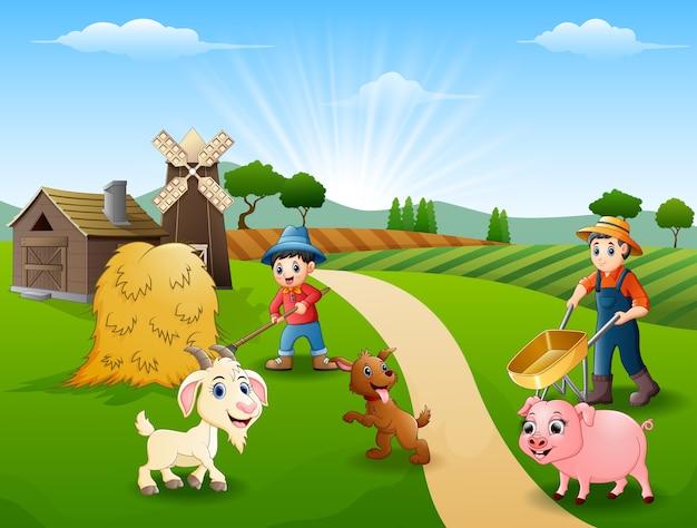 Landwirtschaftliche aktivitäten auf farmen mit tieren vor dem käfig