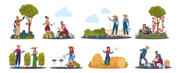 Landwirtschaftliche arbeit. karikaturbauernfiguren, die im feld arbeiten, ernten und früchte ernten.