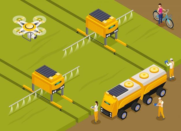 Landwirtschaftliche automatisierte roboter, die pestizide düngen und auf pflanzen mit einer isometrischen zusammensetzung der drohne im überwachungsbereich sprühen