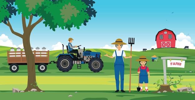 Landwirtschaftliche bauernfamilien mit scheunen und traktor