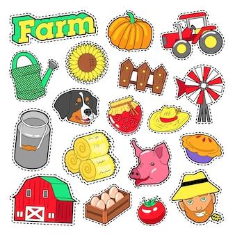 Landwirtschaftliche elemente der farm mit landwirt, ernte und tieren für aufkleber, drucke. vektor gekritzel