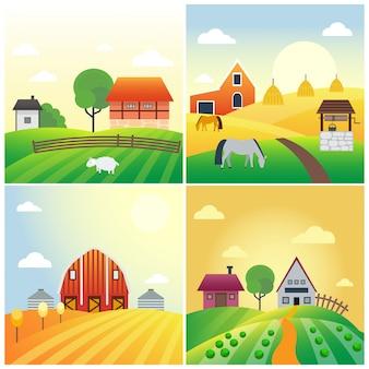 Landwirtschaftliche fahne banner ländliche landschaftsprodukte alte scheune und feldkarikaturillustration.