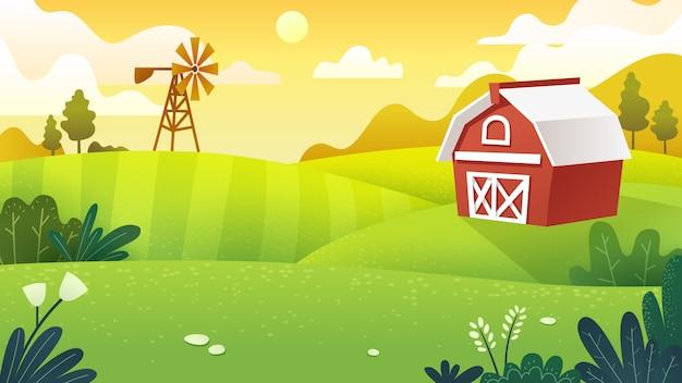 Landwirtschaftliche felder in minimalem und flachem kunststil