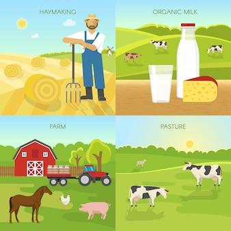 Landwirtschaftliche flache kompositionen