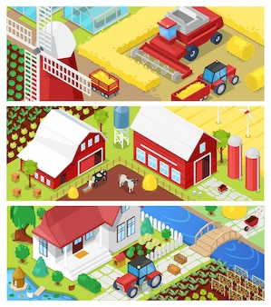 Landwirtschaftliche landwirtschaft der landwirtschaft in feldern und bauernhausillustrationslandwirtschaftssatz des ländlichen hauses auf ackerland oder hofwiesenlandschaft