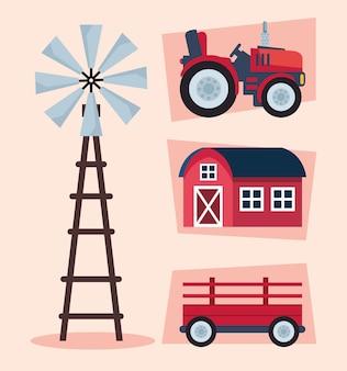 Landwirtschaftliche landwirtschaft vier symbole