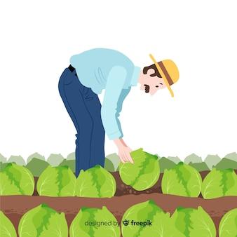 Landwirtschaftliche männliche arbeitskraft der flachen designcharaktere