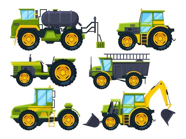 Landwirtschaftliche maschinen. farbige bilder im cartoon-stil