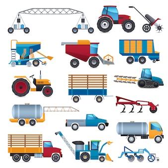 Landwirtschaftliche maschinen icons set