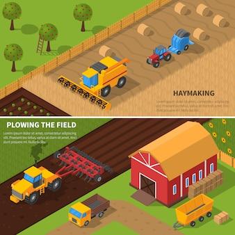Landwirtschaftliche maschinen isometrische banner set