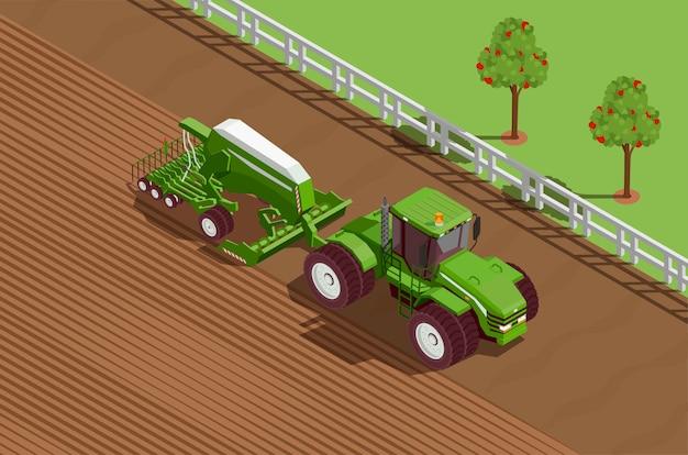Landwirtschaftliche maschinen isometrische hintergrund