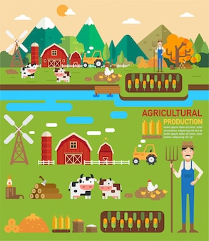 Landwirtschaftliche produktion infografik