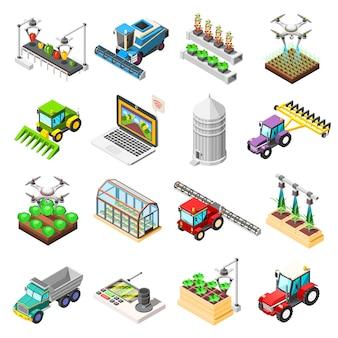 Landwirtschaftliche roboter isometrische elemente