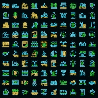 Landwirtschaftliche robotersymbole gesetzt. umrisse von landwirtschaftlichen robotervektorsymbolen neonfarbe auf schwarz Premium Vektoren