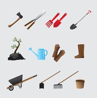Landwirtschaftliche werkzeuge stellten vektorillustration ein.