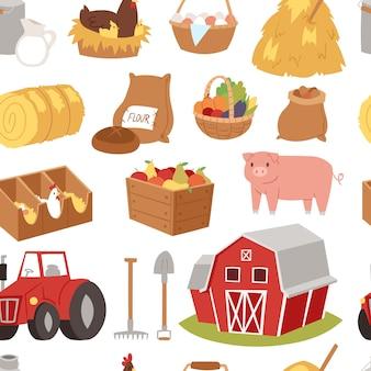 Landwirtschaftliche werkzeuge und symbole haus, traktor cartoon bauerndorf symbole tier und gemüse landwirtschaft ackerland illustration nahtlosen muster hintergrund