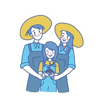 Landwirtschaftlicher familiencharakter
