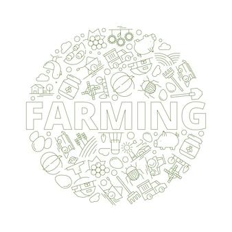 Landwirtschaftlicher hintergrund. bauernhof von weizen ländlichen objekten traktor mühle bio-lebensmittel bäume bild